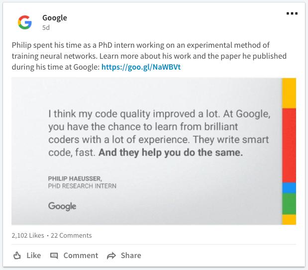 Google LinkedIn career content